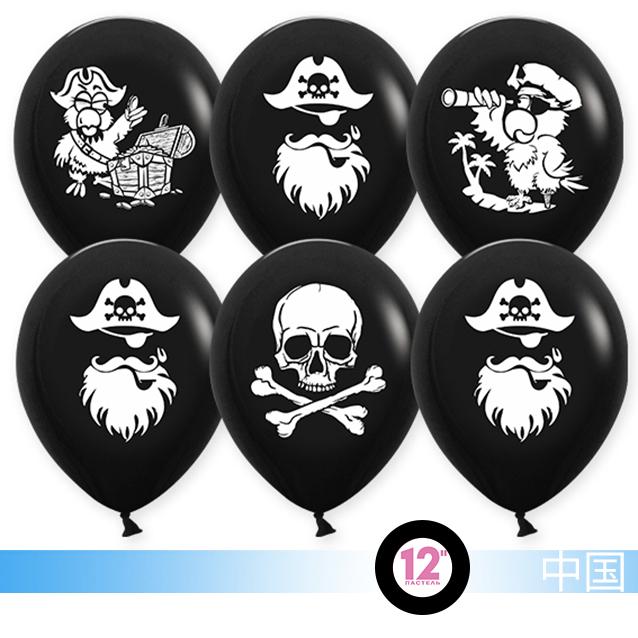 Шар (12''/30 см) Пираты, Черный, пастель, 2 ст, 1 шт.