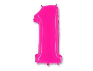 Шар (40''/102 см) Цифра, 1, Ярко розовый, 1 шт.