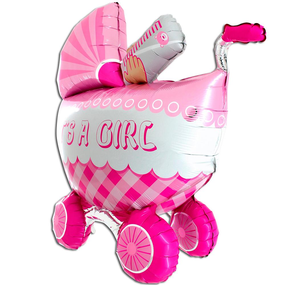 Шар (42''/107 см) Фигура, Детская коляска для девочки 3D, 1 шт.