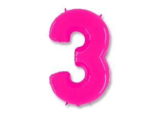 Шар (40''/102 см) Цифра, 3, Ярко розовый, 1 шт.