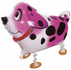 Шар (24''/61 см) Ходячая Фигура, Собака далматин, Розовый, 1 шт