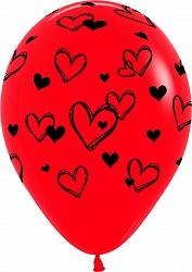 Шар (12''/30 см) Набросок сердец, Красный (015), пастель