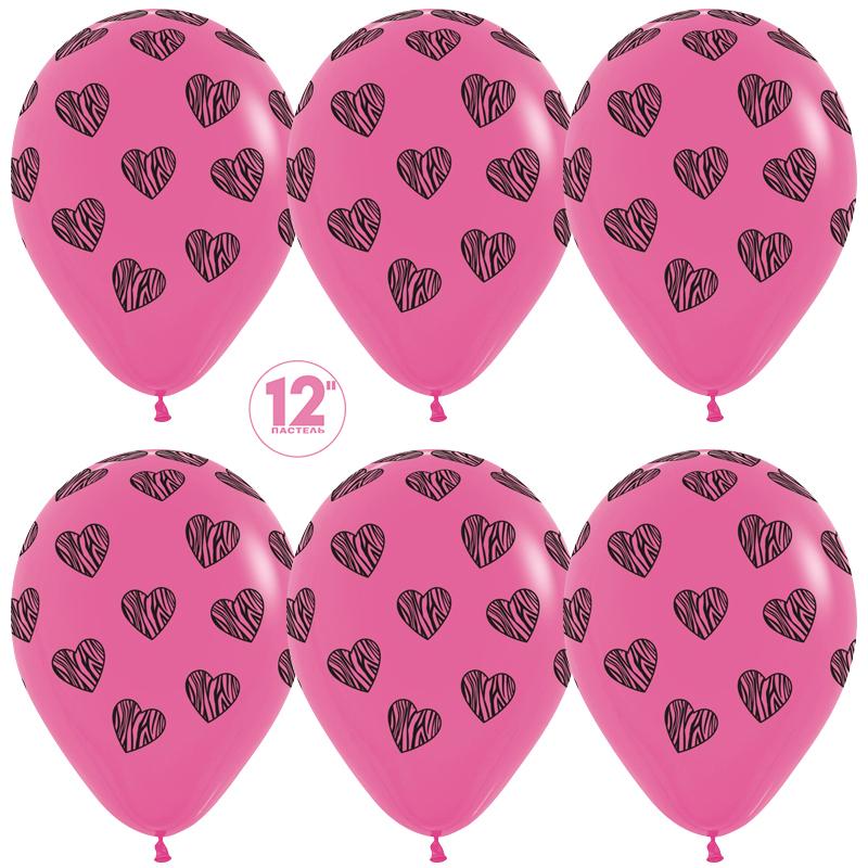 Шар (12''/30 см) Полосатые сердца, Фуше (012), пастель, 5 ст, 1 шт.