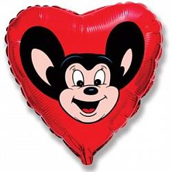 Шар (18''/45 см) Сердце, Могучий мышонок, Красный, 1 шт.