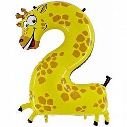 Шар (39`/100 см) Цифра, 2,Жираф, 1 шт.