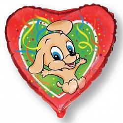 Шар (18''/45 см) Сердце, Прыгающая собака, Красный, 1 шт.
