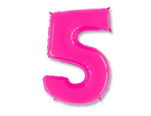Шар (40''/102 см) Цифра, 5, Ярко розовый, 1 шт.