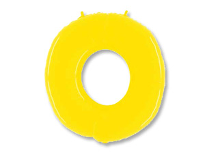 Шар (40''/102 см) Цифра, 0, Яркий желтый, 1 шт.