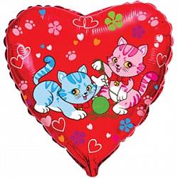Шар (18''/45 см) Сердце, Милые котята, Красный, 1 шт.