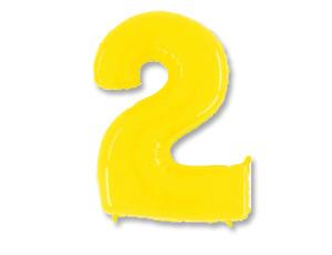 Шар (40''/102 см) Цифра, 2, Яркий жёлтый, 1 шт.