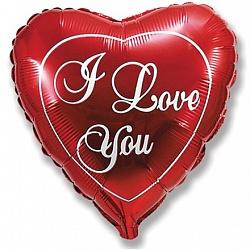 Шар (18''/45 см) Сердце, Я люблю тебя, Красный, 1 шт.