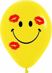 Шар (12''/30 см) Смайл в поцелуях, Желтый (020), пастель