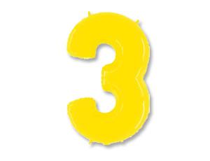 Шар (40''/102 см) Цифра, 3, Яркий жёлтый, 1 шт.