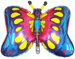 Шар (35''/89 см) Фигура, Бабочка, Синий, 1 шт.
