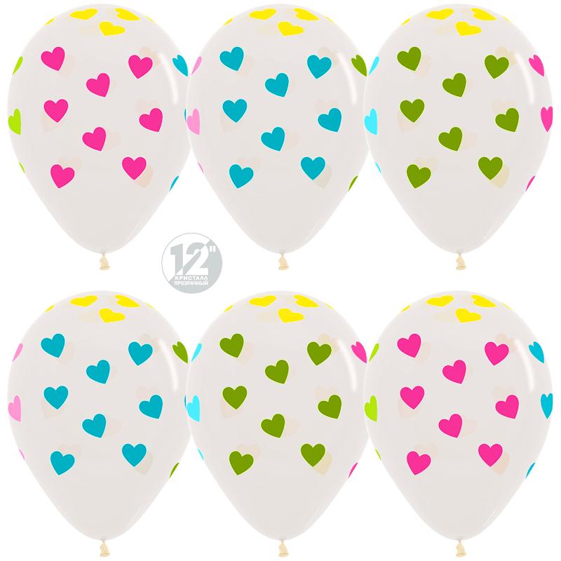 Шар (12''/30 см) Сердца, Прозрачный (390), кристалл, 5 ст многоцвет флюор, 1 шт.