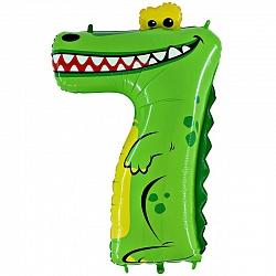 Шар (39`/100 см) Цифра, 7, Крокодил 1 шт.