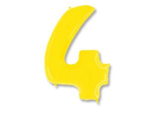 Шар (40''/102 см) Цифра, 4, Яркий жёлтый, 1 шт.