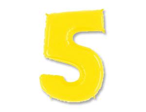 Шар (40''/102 см) Цифра, 5, Яркий жёлтый, 1 шт.