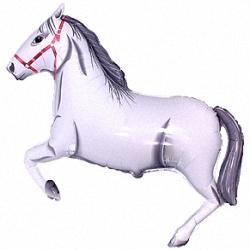 Шар (41''/104 см) Фигура, Лошадь, Белый, 1 шт.