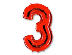 Шар (40''/102 см) Цифра, 3, Красный, 1 шт.