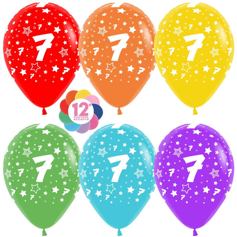 Шар (12''/30 см) Цифра 7 (звезды), Ассорти, пастель, 5 ст, 1 шт.