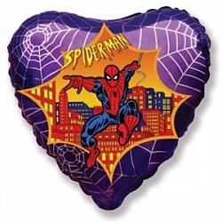 Шар (18''/45 см) Сердце, Человек-паук, Фиолетовый, 1 шт.