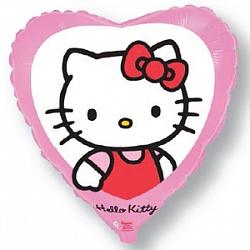 Шар (18''/45 см) Сердце, Котенок с бантиком, Розовый, 1 шт.