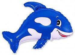 Шар (34''/86 см) Фигура, Веселый кит, Синий, 1 шт.