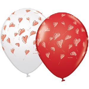 Шар (12''/30 см) Парящие сердца, Белый/Красный, Ассорти, пастель, 5 ст, 1 шт.