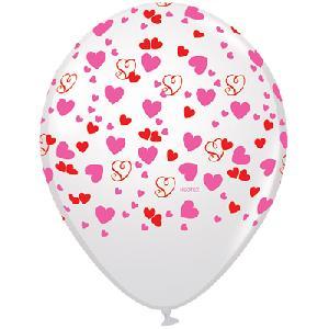 Шар (12''/30 см) Множество сердец, Белый, пастель, 5 ст, 1 шт.
