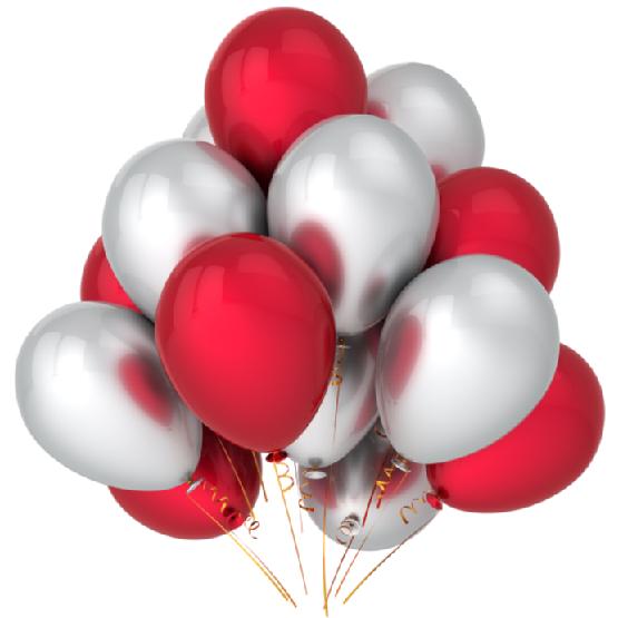 Облако из красных и серебряных ных  шаров