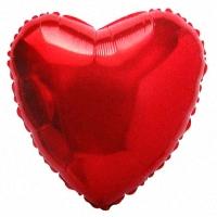 Шар (18''/45 см) Сердце, Красный, 1 шт.