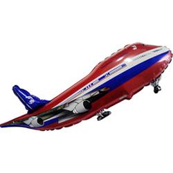 Шар (40''/102 см) Фигура, Самолет, Красный, 1 шт.