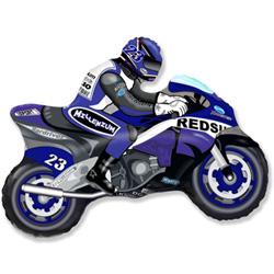 Шар (33''/84 см) Фигура, Мотоцикл, Синий, 1 шт.