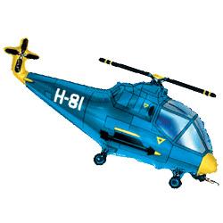 Шар (39''/99 см) Фигура, Вертолет, Синий, 1 шт.