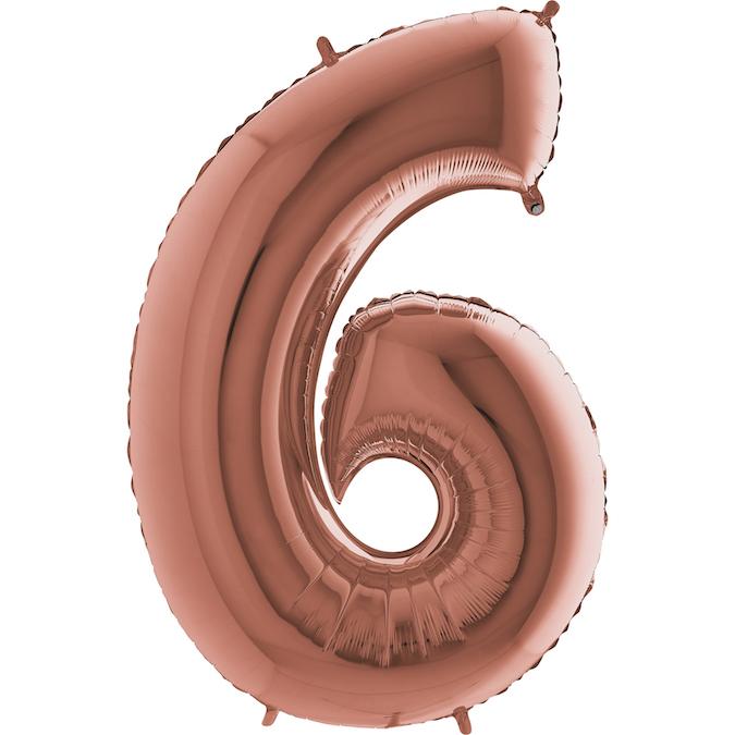 Шар (40''/102 см) Цифра, 6, Розовое Золото, 1 шт.