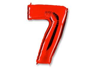 Шар (40''/102 см) Цифра, 7, Красный, 1 шт.
