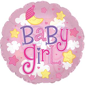 Шар (24''/61 см) Круг, Малышка-девочка (облака), Розовый, 1 шт.