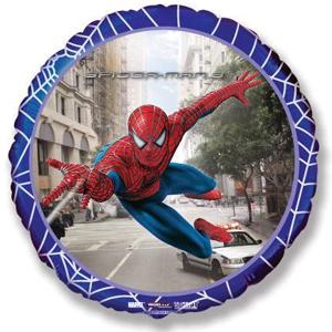 Шар (18''/46 см) Круг, Человек-паук 3 в городе, Синий, 1 шт.