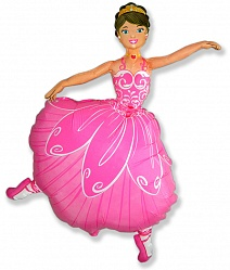 Шар (32''/81 см) Фигура, Балерина, Розовый, 1 шт.