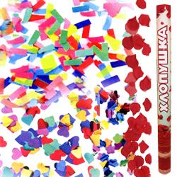 Пневмохлопушка 60см ассорти из бумажного конфетти и лепестков роз