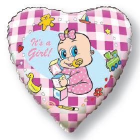 Шар (18''/46 см) Сердце, Новорожденная девочка, Розовый, 1 шт.