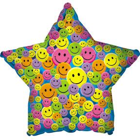Шар (18''/46 см) Звезда, Разноцветные улыбки Синий, 1 шт.