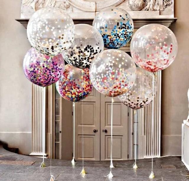 Метровый шар с разноцветным конфетти
