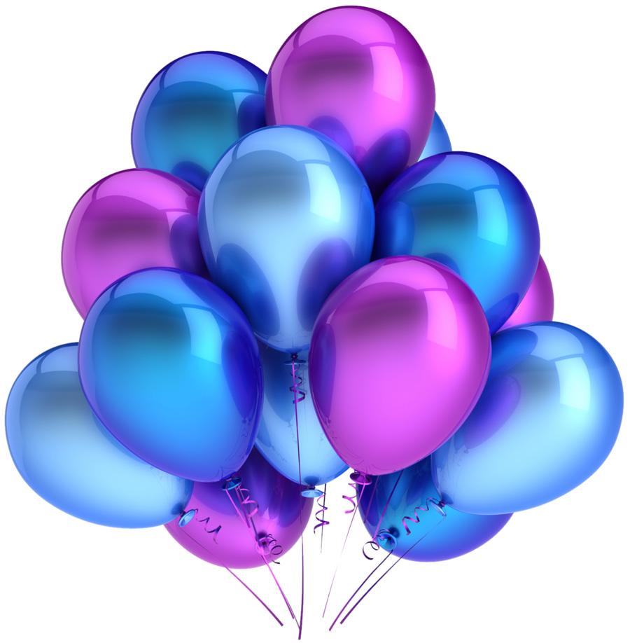 Облако фиолетово-синих шаров